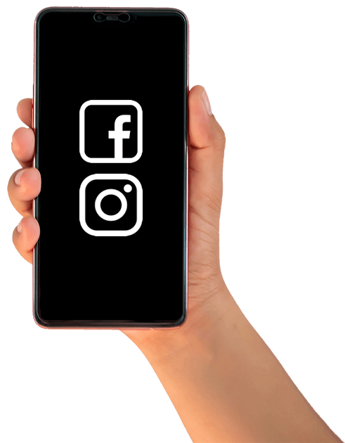 hand with smarphone social icons